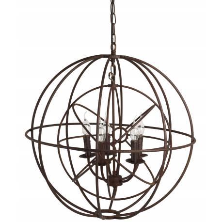 Magnifique Lustre Double Sphères Luminaire à Suspendre Plafonnier 5 Lampes Ampoules en Métal Marron Rouille 73x73x73cm