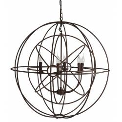 Magnifique Lustre Double Sphères Luminaire à Suspendre Plafonnier 6 Lampes Ampoules en Métal Marron Rouille 91x91x91cm