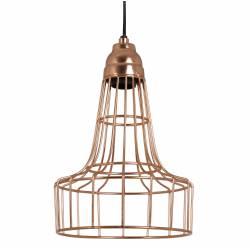 Suspension Babette Lustre Luminaire à Suspendre Plafonnier Eclairage 1 Ampoule en Métal Patiné Or Rose 21x21x29cm