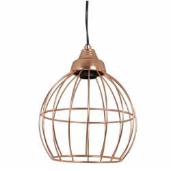Suspension Benthe Lustre Luminaire à Suspendre Plafonnier Eclairage 1 Ampoule en Métal Patiné Or Rose 20x20x24cm