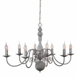 Superbe Lustre de Charme Christina Plafonnier Luminaire à Suspendre Lumière Intérieure 8 Lampes en Fer Gris Antique 60x86x86cm