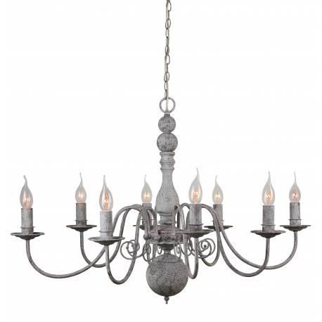 Superbe lustre de charme christina plafonnier luminaire à suspendre lumière intérieure 8 lampes en fer gris