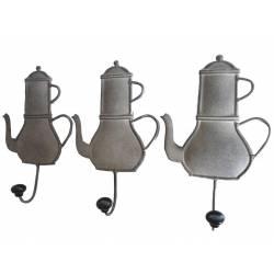 Set de 3 Porte Serviettes Muraux ou Porte Torchons de Cuisine en Fer Patiné Gris 5,5x14x24cm