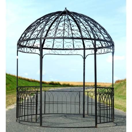 Grande Tonnelle Kiosque de Jardin Pergola Abris Rond Gloriette en Métal Marron 250x250x290cm