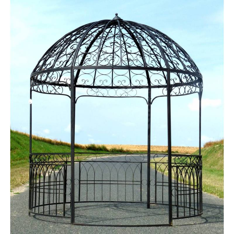 Grande tonnelle kiosque de jardin pergola abris rond for Gloriette de jardin en fer forge