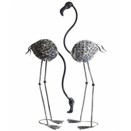 Set de 2 Herons sur Pied ou Duo de Statues de Volatiles à Poser en Fer Patiné Gris 50x50x100cm