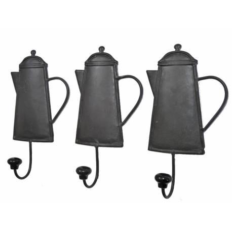 Set de 3 Porte Serviettes Muraux Motif Cafetière ou Porte Torchons de Cuisine en Fer Patiné Noir 5,5x11x20,5cm