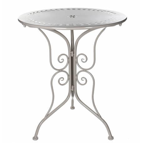 Table de Salon de Jardin Bistrot Console d'Appoint Bout de Canapé Forme Ronde en Fer Taupe 60x60x70,5cm