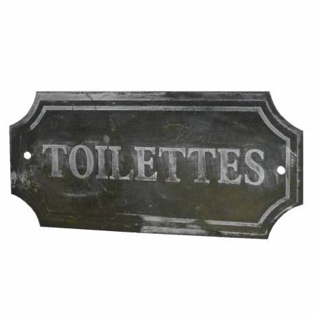 """Plaque Décorative Murale à Poser Ecriteau avec Inscription """"Toilettes"""" en Fer Patiné Gris 0,1x7x15,5cm"""