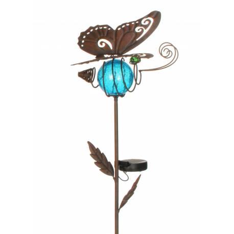 Papillon Solaire Pic Tuteur de Jardin Lumineux Tige Motif Feuille en Fer Marron et Boule en Verre Craquelé Bleu 20x23,5x76cm