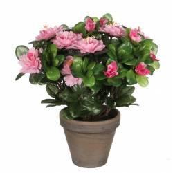 Fleurs Artificielles en Tissu dans son Pot en Terre Cuite Décoration Fleurie Azalée Rose 20x20x28cm
