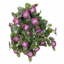 Fleurs Artificielles en Tissu dans son Pot en Terre Cuite Décoration Fleurie Liseron Violet 22x52x53cm