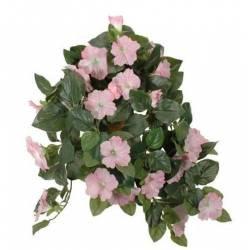 Fleurs Artificielles en Tissu dans son Pot en Terre Cuite Décoration Fleurie Liseron Rose Pâle 22x52x53cm
