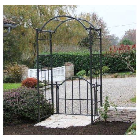 Arche Portillon Classic Garden Portail Arche à Rosiers de Jardin en Fer  Forgé Gris Anthracite 71x121x232cm