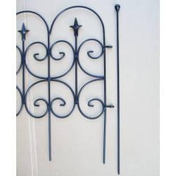 Bordure Fleur de Lys Clôture de Jardin Grille Barrière Garde Corps Intérieur Extérieur Fer Forgé Peinture Epoxy Noir 4x60x130cm