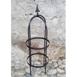 Obélisque Classic Garden Small Jardinière Porte Rosier Buis Topiaire en Fer Forgé Gris Anthracite 40x40x220cm