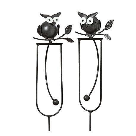 Mobile de Jardin à Bascule à Piquer ou Tuteur pour Plantes Motif Chouette Perchée en Fer Patiné Marron-Noir 10x15x110cm