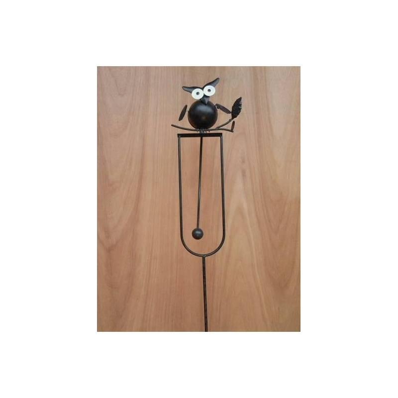mobile de jardin bascule piquer ou tuteur pour plantes motif chouette perch e en fer patin. Black Bedroom Furniture Sets. Home Design Ideas