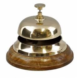 Cloche de Comptoir ou Présentoir à Clochette Carillon à Poser en Bois et Laiton Poli 10,5x11,5x11,50cm
