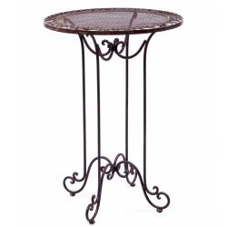 Table de Bar Mange Debout Table Haute d'Appoint Ronde Bistrot Guéridon en Fer Marron 70x70x101cm