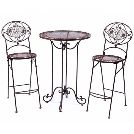 Mange Debout et ses 2 Chaises Pliantes 2 Places Personnes Table de Bar Bistrot en Fer Patiné Marron