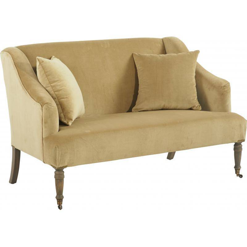 canap sirus marque hanjel banquette 2 personne si ge de salon en ch ne et velours 81x87x139cm. Black Bedroom Furniture Sets. Home Design Ideas