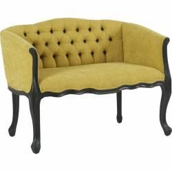 Canapé Cheverny Gamme Hanjel Sofa Siège de Salon 2 Places en Chêne Noir et Tissu Tilleul 66x80x105,5cm