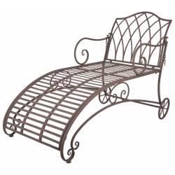 Chaise Longue de Jardin Bain de Soleil Transat avec Dossier Inclinable Fauteuil Détente en Fer Patiné Marron 70x90x144,5cm