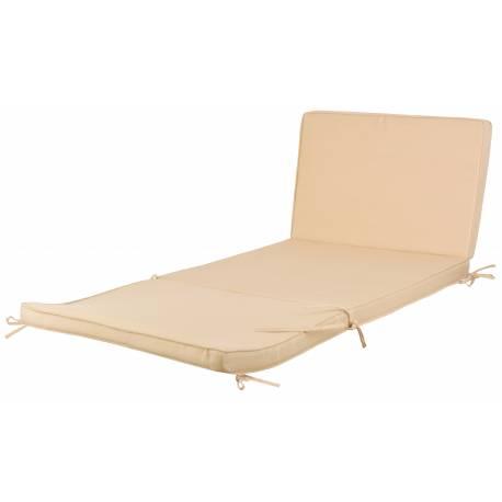 Coussin pour Bain de Soleil Transat Chaise Longue ou Tapis de Sol en Polyester de Couleur Ecru 6,5x61x155cm