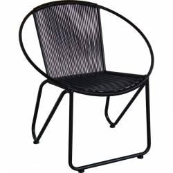 Fauteuil Foma Marque Hanjel Siège de Salon Façon Chaise en Rotin en Acier Noir et Plastique 63x73x78cm
