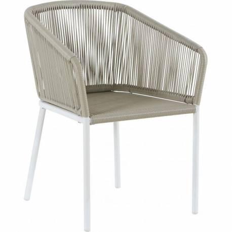 Fauteuil Soma Marque Hanjel Siège de Salon Façon Chaise en Rotin en Acier Blanc et Plastique 63x73x78cm