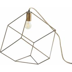 Lampe à Poser Tora Marque Athezza Luminaire Lumière d'Appoint à Suspendre 1 Ampoule en Métal Laiton Doré 30,5x30,5x30,5cm