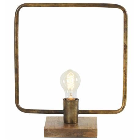 Lampe Carrée Tora Gamme Athezza à Poser Luminaire Design Eclairage 1 Ampoule Déco Electrique en Métal Laiton Doré 15x32x38cm