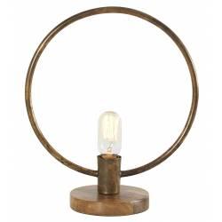 Lampe Ronde Tora Gamme Athezza à Poser Luminaire Design Eclairage 1 Ampoule Electrique en Métal Laiton Doré et Bois 15x32x39cm