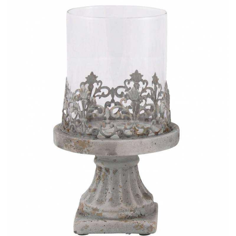 Photophore Bougeoir Lampe Porte Bougie Avec Socle En Terre Cuite Verre Et M Tal 13x13x22cm L