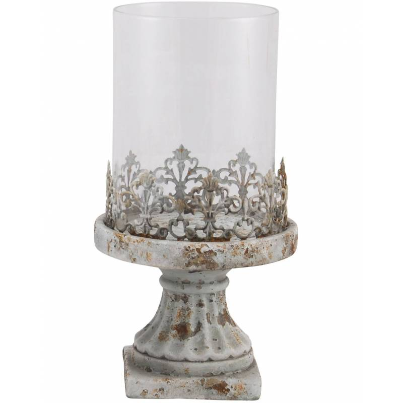 Photophore Bougeoir Lampe Porte Bougie Avec Socle En Terre Cuite Verre Et M Tal 14 5x14 5x28cm