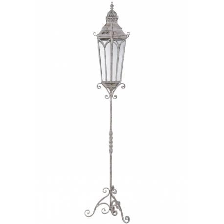 Grande lanterne hexagonale sur pied lampadaire porte for Luminaire exterieur decoratif