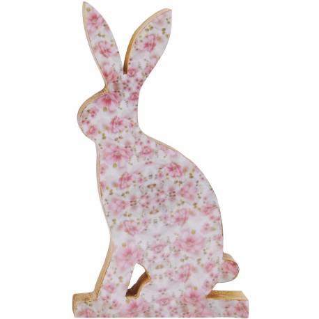Lapin ou Lièvre Décoratif Intérieur ou Représentation Animale à Poser en Bois Motif Floral 2,5x9,5x16,5cm