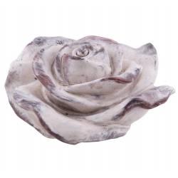 Jolie Fleur Rose Décoration à Poser Représentation Florale en Polyrésine Patinée 9x16x16cm