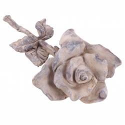 Représentation Rose à Poser Fleur Décorative Décoration Florale en Polyrésine Patinée 5,5x11x24cm