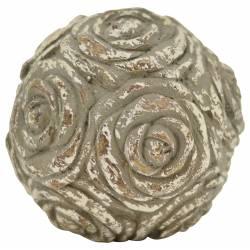 Grande Boule Décorative Objet de Déco Motif Roses en Polyrésine Patinée 14x14x14cm