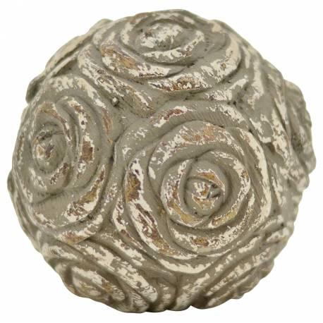 Boule Décorative Objet de Déco Motif Roses en Polyrésine Patinée 14x14x14cm