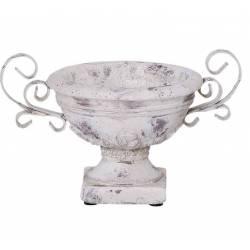 Vase Vasque Chambord Jardinière de Pilier Pot de Fleur Vide Poche en Terre Cuite et Métal Patinée 15x17x23cm