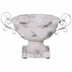 Vase Vasque Chambord Jardinière de Pilier Pot de Fleur Vide Poche en Terre Cuite et Métal Patinée 19x23x30cm