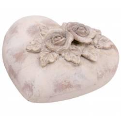 Coeur Décoratif Style Pierre Décorative Sujet à Poser Motif Fleurs Roses et Feuilles en Polyrésine Patinée 9,5x17x17cm