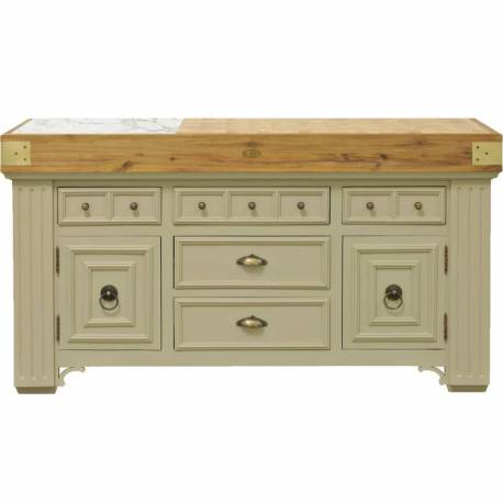 Ilot billot de cuisine de kercoet comptoir meuble de rangement double face en - Meuble en acacia massif ...