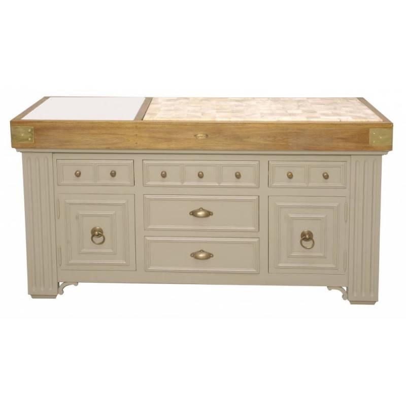 Ilot billot de cuisine de kercoet comptoir meuble de for Meuble billot cuisine