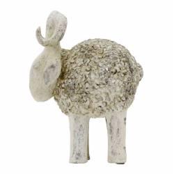 Statue Représentation de Bélier Mouton Decoration Intérieure Extérieure en Polyrésine Patinée 21,5x27x35cm