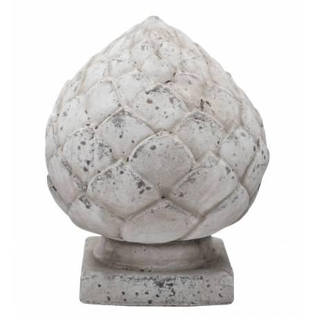 Pomme de Pin Obélisuqe ou Epis de Faitage Décoration Intérieure Extérieure en Terre Cuite Ton Pierre 14x14x20cm