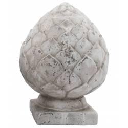 Obélisque ou Epis de Faitage Pomme de Pin Décoration Intérieure Extérieure en Terre Cuite Ton Pierre 19x19x26cm